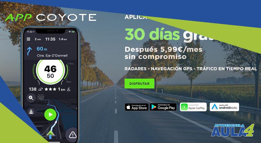 Vista de la app para moteros Coyote
